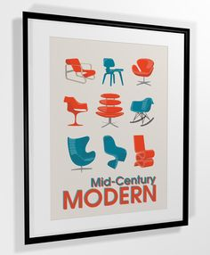 mid century chairs poster print