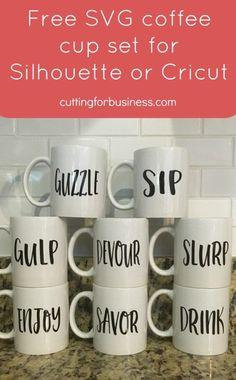 Free Coffee Mug Set SVG for Silhouette Cameo, Cricut, or Sublimation - cuttingforbusiness.com