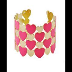 """New Heart Cuff Bracelet New enamel heart cuff bracelet. Width: 2"""" Jewelry Bracelets"""