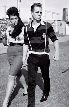 ~Cool Couple~ Vintage photo and later of Teddy boys and Rockabilly girls Rockabilly Couple, Mode Rockabilly, Rockabilly Fashion, Retro Fashion, Vintage Fashion, Rockabilly Shoes, Rockabilly Dresses, Lolita Fashion, Vintage Clothing