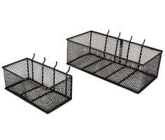 Black Steel Mesh Peg Board Basket 24265 at The Home Depot - Mobile Black Pegboard, Steel Pegboard, Pegboard Garage, Pegboard Craft Room, Painted Pegboard, Garage Wall Organizer, Storage Shed Organization, Craft Storage, Garage Storage