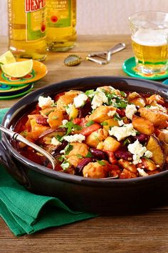 Schnitzelchili mit Feta - New Site Pork Recipes, Cooking Recipes, Chili, What You Eat, Kung Pao Chicken, Salsa, Low Carb, Good Food, Food And Drink