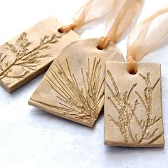 Ceramic Ornament with Natural Plant Impression Christmas Holiday Decoration Gold Large - Set of 3