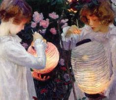 "John Singer Sargent ~ 1885 ~ By Lantern Light: Sargent first saw paper lanterns hung among trees and flowers when he was resting in Pangbourne after a diving accident, and the effect of the light charmed him. Then in Broadway, he began the painting of ""two little girls in a garden at dusk, lighting paper lanterns hung among the flowers""."