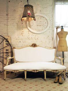 Painted Cottage Chic Shabby White French Louis XVI Sofa CHR368.  via Etsy.