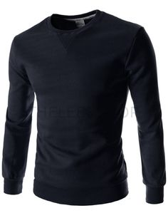 (FLT03-NAVY) Mens Slim Fit Round Neck Point Basic Cotton Colorful Long Sleeve Tshirts