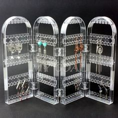 Acrylic Jewellery Studs Earrings Shop Display Stand Holder Rack Fold Arch Show AU $11.40