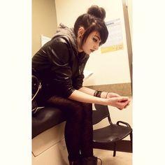 Instagram media by brandibrutality - Waiting for my inhaler like a little bitch. #girl #emo #emogirl #girlswithpiercings #bun #blackhair #piercings #stretchedears #helix #doublehelix #septum #nosering #redlips #redlipstick #eyeliner #wingedeyeliner #makeup #tights #leatherjacket #bracelets #00gauge #hairbun