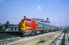 https://flic.kr/p/r12gM8 | AT&SF F3 25C | AT&SF F3 25C westbound on Train #2-19, the second section of The Chief at Joliet, Illinois on July 11, 1965, Kodachrome by Chuck Zeiler.  Number 25C was built in April 1948 (c/n 5405) on EMD Order E902A as the trailing cab of A-B-B-A locomotive 25 (25L, 25A, 25B, 25C).  It was traded to EMD during 1970 on an order of GP38's.  It is seen here in charge of the second section of Train No. 19, The Chief, departing Chicago daily at 9:00AM (10:00AM loc...