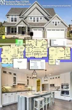 Architectural Designs Exclusive Craftsman House Plan gives you heated living space with 4 beds and 3 baths. Plus an optional lower level. Where do YOU want to build? Dream House Plans, House Floor Plans, My Dream Home, Dream Homes, 6 Bedroom House Plans, Two Story House Plans, Craftsman House Plans, Craftsman Interior, House Blueprints