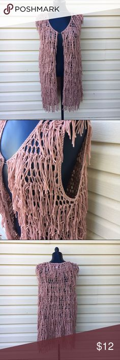 NWT Fringe Vest NWT Fringe Vest in dusty pink. Super cute and trendy. Looks great wit leggings. Marked OSFA but put as medium for exposure. Xhilaration Sweaters Cardigans
