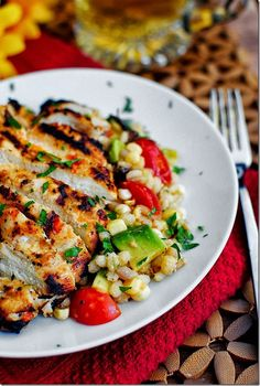 Grilled chicken with corn salad   Just a good recipe - just without barley...