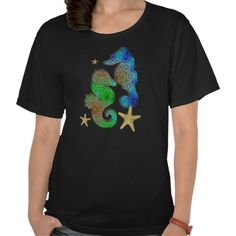 Colorful Whimsical Sea Horses and Star Fish Design. A beautiful whimsical picture of sea horses and star fish in lovely patterns of green, blue and gold/brown so pretty and available on various styles and colors of fashionable tee shirt tops.