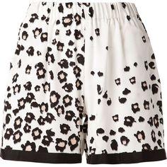 Sea 'Leo' shorts ($190) ❤ liked on Polyvore featuring shorts, pants, short, black, leopard print shorts, sea, new york, leopard shorts, black short shorts and short shorts