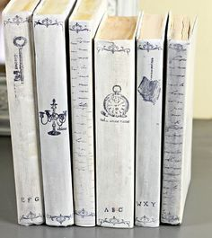 painted, distressed and stamped books  Shabby Sweet Cottage