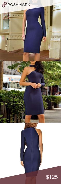 Choker One Sleeve Bandage Dress #820 Blue choker one sleeve bandage dress.  Made from the best quality bandage material.  Material: 90% rayon, 9% nylon, 1% spandex Dry Clean Only  Price is firm unless bundled Rumor Apparel Dresses