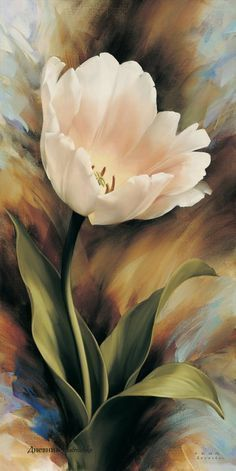 Floral art painting of a pretty pink tulip - artist? Arte Floral, Watercolor Flowers, Watercolor Paintings, Watercolors, China Painting, Tulip Painting, Oil Painting Flowers, Light Painting, Beautiful Paintings