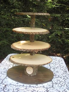 Cupcake Stand Rustic Wedding Wood Dessert Bar by YourDivineAffair