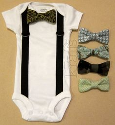 Baby Boy Outfit - Suspender Onesie with your choice of 1 removable bow tie on Etsy, $17.50