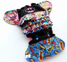 Super Hero Ruffles Cloth Nappy by Tweedlebee and Tweedlebum - One Size. Baby Bum Boutique.