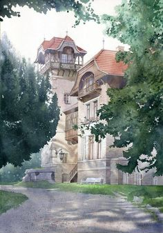 "https://www.facebook.com/MiaFeigelson ""Willa Juenckego w Sopocie"" By Grzegorz Wróbel - Watercolors / Akwarele, from Poland (b. 1983) [Architect and Watercolor Artist] - watercolor; 50 x 70 cm - http://grzegorz-wrobel.com/ https://www.facebook.com/pages/Grzegorz-Wróbel-Watercolors-Akwarele/172394402776379"