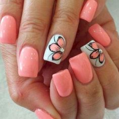Nail art is one of many ways to boost your style. Try something different for each of your nails will surprise you. You do not have to use acrylic nail designs to have nail art on them. Here are several nail art ideas you need in spring! Cute Summer Nail Designs, Cute Summer Nails, Nail Summer, Summer Shellac Nails, Summer Toenails, Summer Nails 2018, Nail Art Ideas For Summer, Acrylic Nail Designs For Summer, Summer Vacation Nails