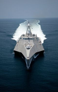 lean and fast new stealth combat ship at sea trials