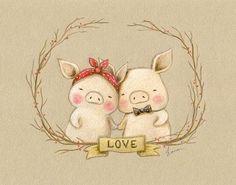 ilustracion infantil cerditos san valentin