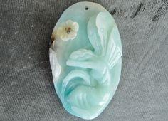 62mm Carved Stone Pendant Fairy Angel Pendant Amazonite 62x39x10mm Hand Carved Natural Gemstone Pendant 65x35x13mm Aqua Blue Gemstone by TheBeadBandit on Etsy