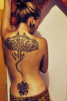 Shark Ray and honu tattoo  The #feminine style mixing Polynesian and #Hawaiian #tribal tattoo designs makes it perfect tattoo for women.
