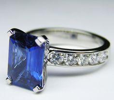 2.8 Carat Blue Sapphire Emerald Cut Ring with Diamond Band - ER120