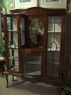 Antique Furniture Display Cabinet Mahogany Inlaid  Fathers Day Gifts  Discount Watches  http://discountwatches.gr8.com