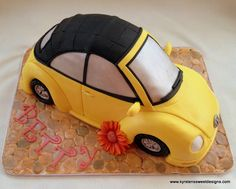 Yellow VW Beetle Cake | Kyrsten's Sweet Designs - Specialty Cakes and Cookie Favors