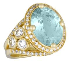 18K Gold Pavé Halo Ring with 9.15ct African Paraiba Tourmaline and 2.035ct Diamond - Temple St. Clair