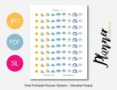 Free Printable Planner Stickers - Weather Kawaii