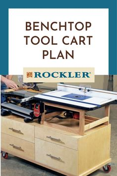A jobsite table saw and router table join forces on this easy-to-build four-drawer workstation. Our rolling base tag-teams your jobsite table saw with a full-size router table. Find the plan to make it here! #CreateWithConfidence #ToolCart #Rockler #BenchTopToolCart #ShopOrganization Rockler Woodworking, Learn Woodworking, Woodworking Projects, Jobsite Table Saw, Mobile Workbench, Tool Cart, Workshop Organization, Router Table, Garage House