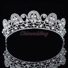 Pearls Crystal Rhinestone Bridal Tiara Crown Prom Pageant Bridal Veil Headband