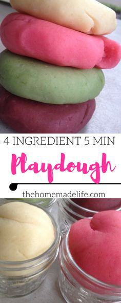 Simple five minute four ingredient homemade playdough that your kids will love. If you want to know how to make homemade playdough with ingredients around your home, you are in the right place. This easy homemade playdough recipe is made with real food, making it completely non-toxic for your kiddos.You can also turn it into aromatherapy playdough with essential oils too! http://www.thehomemadelife.com/how-to-make-homemade-playdough/
