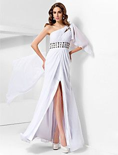 Trumpet/Mermaid One Shoulder Floor-length Chiffon Evening Dr... – USD $ 179.99