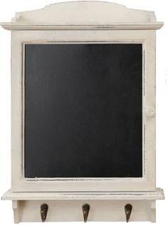 Clayre & Eef houten Sleutelkast met Krijtbord en haken zwart-wit - 34 x 8 x 47 cm