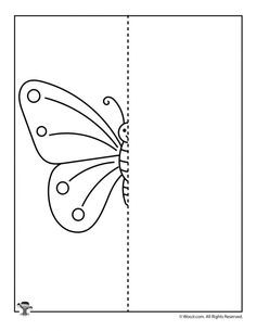 Spring Butterfly Drawing Activity Page Finish The Drawing Worksheets, Art Worksheets, Preschool Worksheets, Matching Worksheets, Butterfly Illustration, Butterfly Drawing, Butterfly Crafts, Symmetry Activities, Drawing Activities