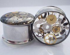 Plugs Steampunk rouages engrenages jauges montre par HandmadeAt62