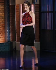 Chic: Cobie Smulders wears a red and black frock for an appearance on The Late Show starri...