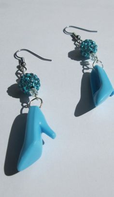 Light Blue  Barbie Shoes earrings with Fancy Beads / Surgical steel wire  / ITEM 1558