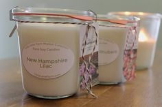 New Hampshire Lilac: The soft floral fragrance of fresh sprig lilac blossoms gently tossed by a warm spring breeze. It's no wonder these bushes are so loved by gardeners in New England.  Beautiful Weck canning jar candles from Lizzy Lane Farm