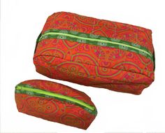 Handmade quilted Orange Shweshwe toiletry bag (set or separate) by gogothabo on Etsy