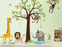 Simple Safari Dschungel Baum und Tiere Kinder Wandtattoo