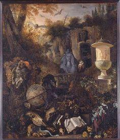 vanitas symbols in a landscape by Matthias Withoos1658