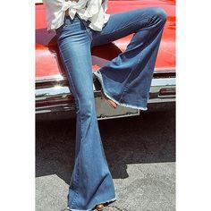 Denim Super Flare Jeans ($18) ❤ liked on Polyvore featuring jeans, denim jeans, blue jeans, flared jeans, blue denim jeans and flare denim jeans