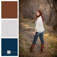 Senior Portrait Outfit Color Palette, Warm Fall Colors, Allison Ragsdale Photography, Durango CO